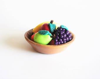Miniature fruit bowl, miniature bowl of fruit, miniature fruits, banana, grapes, pears, apples, oranges, kitchen decor, table decor