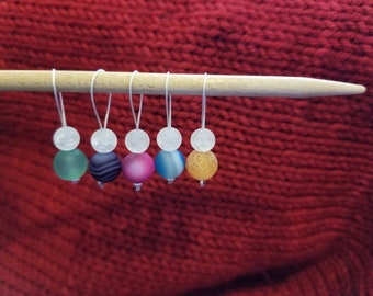 Stitch Markers. Set of 6 Frostsed Glass Beads