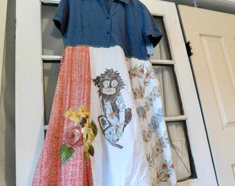 Reclaimed, Upcycled Tunic, Monkey, Mixed Media Art, Collage, Patchwork Shirt, Wearable Art Tshirt, Fun Clothes, Tshirt dress