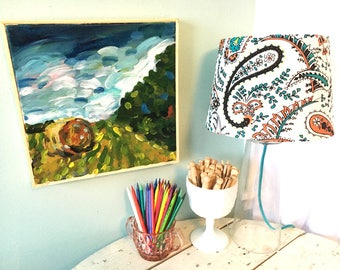 Haybale by Tree Row Art - Acrylic Painting on Canvas, miniature art