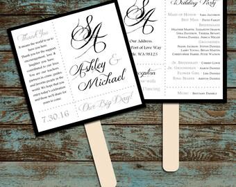 Monogram with Ampersand Program Fans Kit -  Printing Included. Wedding ceremony programs