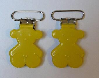 bear pacifier clip-yellow