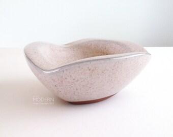 Vintage Modernist Speckled Pottery Bowl Mid Century