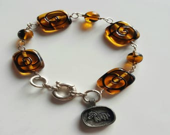 Brown Lamp Work Glass Beaded Bracelet with Sterling Silver