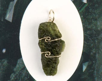 One Moldavite Wire Wrap Pendant! Meteorite! Natural & Genuine Raw Moldavites! .925 Sterling Silver! Synergy 12! Guarantee Card Included!