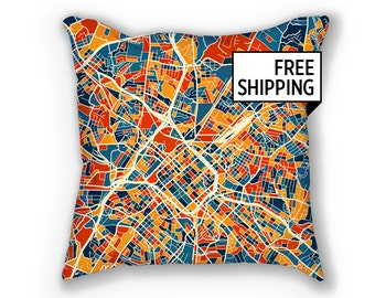 Charlotte Map Pillow - North Carolina Map Pillow 18x18
