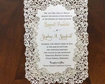 Floral Laser Cut Wedding Invitations Rustic Wedding Die Cut Laser Cut Rustic Kraft Wedding Invites Laser Cut
