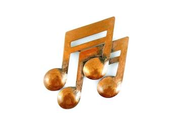BIG Vintage 1930s 40s Art Deco Geometric Francisco REBAJES New York Handmade Copper Musical Notes Brooch PIN