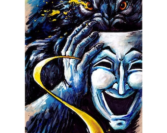 The Great Pretender A3 Print, Signed & Numbered - werewolf wolf mask