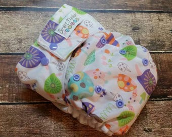 One Size Pocket Cloth Diaper Purple Snails 15-40 lbs PUL