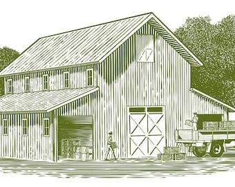 Woodcut Farm Work Scene Illustration – Digital Download
