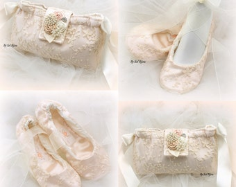 Ballet Flats,Clutch, Blush, Ivory, Elegant Wedding, Vintage Style, Handbag, Shoes, Maid of Honor, Ballerina Slippers, Lace Flats,Lace Clutch