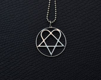 HIM Pendant Stainless Steel Rock Jewelry Him Necklace Him Symbol Him Logo Him Merch