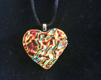 "Dichroic glass heart pendant - ""Warmth"""