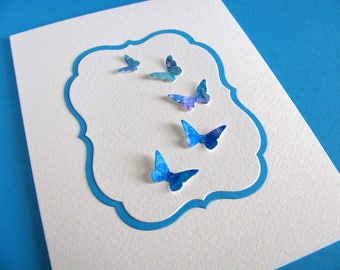 Watercoloured Butterflies on Turquoise and Ivory Panel on Creamy Ivory Card / Deep Turquoise / A2 Size / Ready to Ship