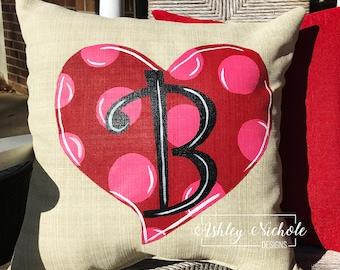 """18"""" Custom-Polka Dot Heart Pillow"""