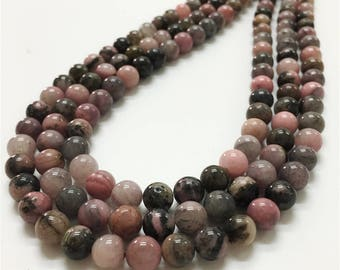 8mm Rhodonite Beads, Round Gemstone Beads, Wholesale Beads