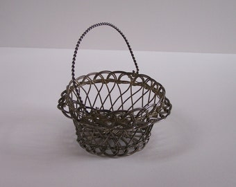 Little decorative wire handcrafted basket vintage