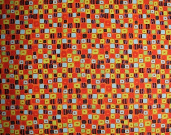 43 X 63 Orange Purple Green and Blue Print Cotton Fabric Remnant