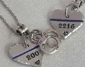 Police necklace etsy thin blue line necklace law enforcement police wife necklace police wife police jewelry police officer badge number necklace leo aloadofball Choice Image