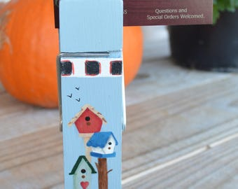 "6"" Birdhouse Clothespin Note Holder solid wood painted with acrylics"