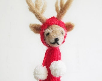 Finger Puppet Soft Toy - REINDEER, needlefelted from wool and knitted with yarn, red, white