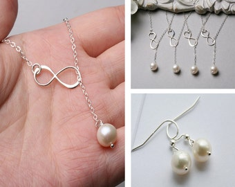 Set of 4,Infinity necklace,freshwater pearl,Figure eight,Infinity pearl lariat necklace,Friendship,bridesmaid gift,wedding