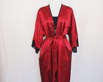 Vintage Maroon Floral and Black Lace Robe