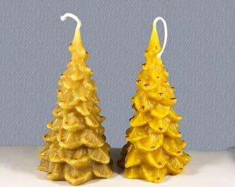 Beeswax Candles - Christmas Tree 2 pk