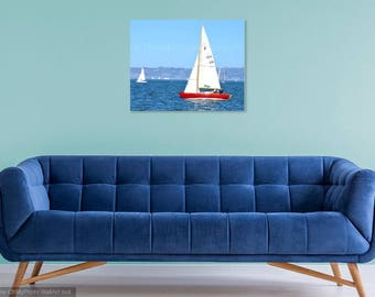 Sailing Photo Print, Sail Boats, San Francisco Bay Photo, Yacht Photography, Blue, 8x10,16x20, Bright Red Boat, Bay Area, Beach Home Decor
