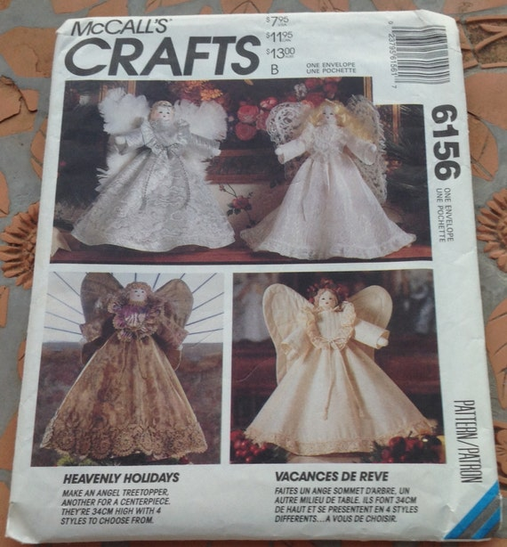 McCall\'s 6156 Crafts Sewing Pattern Christmas Angel Tree Topper ...