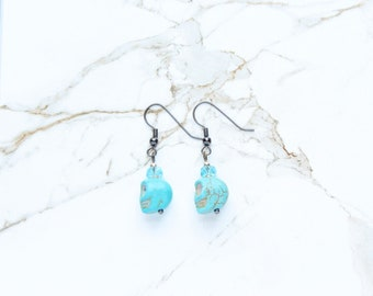 Blue Stone Earrings Turquoise Sugar Skull Day of the Dead Halloween Jewelry Dia de los Muertos Glass Silver Gunmetal Gifts for Her Women Mom