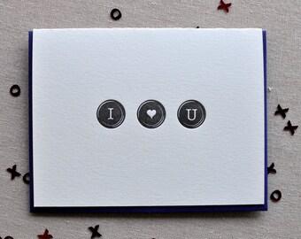 I <3 U Typewriter Keys Letterpress Card & Envelope