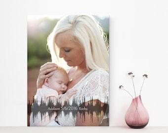 Baby Heartbeat Soundwave Canvas, Baby's Heartbeat Print, Personalized Nursery Decor, Custom Design