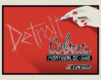 Detroit Cobras screenprinted gigposter / Montreal 7/14/12