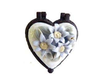 """Vintage Periwinkle Blue Flowers & White Porcelain Heart Trinket Dish - Hinged - Ring Box - Jewelry Home Decor Vanity - 2"""" L x 1 1/2"""" W"""