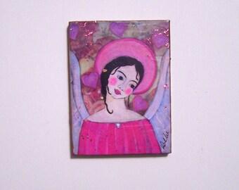 Folk Art Angel Woodblock print from Original Painting