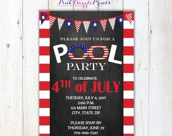 Printable 4th of July Pool Party Invitation- Any Occasion- Digital File