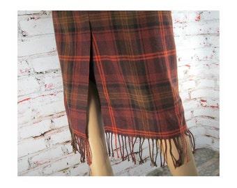 wool plaid skirt - long wool skirt - plaid skirt - fringed skirt - blanket skirt - brown orange plaid skirt -  size 10 P   # 16
