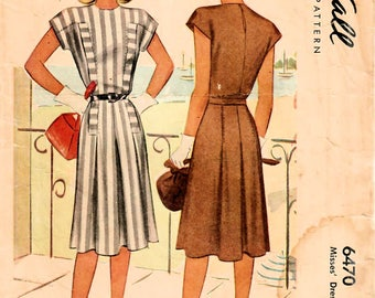 1940s McCall 6470 Vintage Sewing Pattern Misses One Piece Dress, Afternoon Dress Size 12 Bust 30