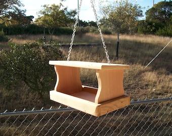 Small Handmade Cedar Fly Through Bird Feeder Squirrel Feeder Hanging Seed Feeder