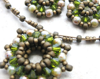 Bead Woven Pendant Necklace and Earrings Set