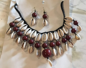 Cowrie Shell Necklace with dangling earrings