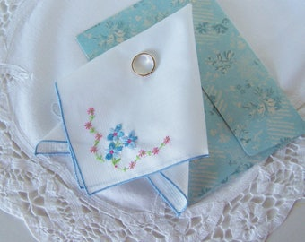 Bridal Shower Gift, Wedding Hanky, Something Old and Something Blue Vintage Handkerchief, Happy Tears Keepsake, Comes with Gift Envelope
