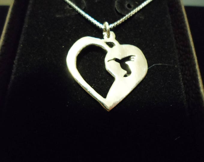humming bird heart necklace w/sterling silver chain quarter size