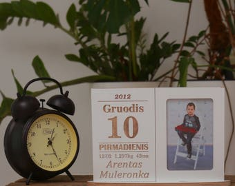 Personalized baby photo frame birth date calender