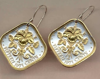 Earrings - Bahamas Hibiscus, Gorgeous 2-Toned  Gold on Silver  Coin-Earrings