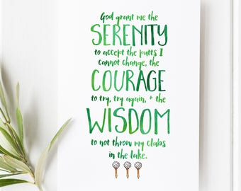 Golf serenity prayer - Golf print - Golf quotes - Arnold Palmer Quotes - Golf Print - Sports Typography - Golf Gift - The Masters Print