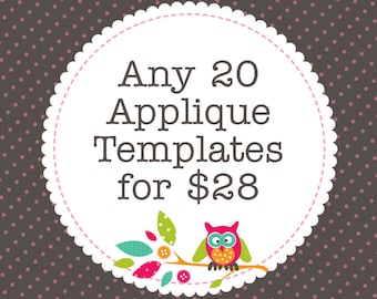 Any 20 Applique Templates, You Choose Designs, Multiple Purchase Discount. PDF Patterns by Angel Lea Designs