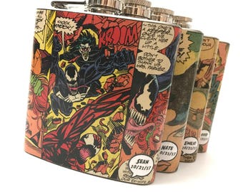 Personalized Superhero Flask - Groomsmen Flask - Wedding Favor - Bachelor Gift - Bridesmaid Gift - Geek Flask - Comic Book Flask - Geek Gift